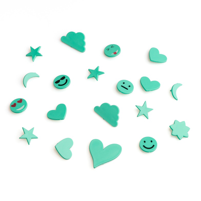 PACK SimbolosTablero Felting Exchangeable Emojis - Alphabet Retro Color Plastic Turquoise