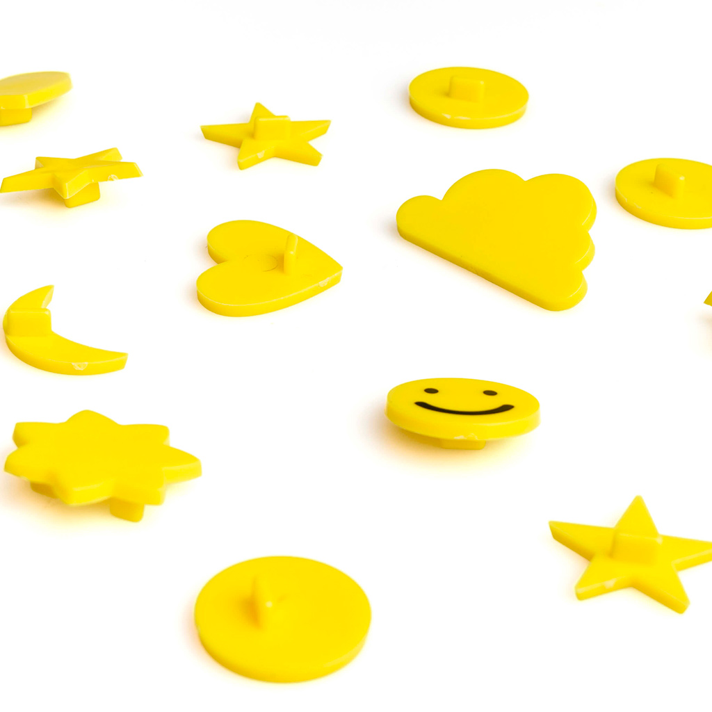 PACK SimbolosTablero Fieltro Intercambiables Emojis - Alfabeto Plastico Retro Color Amarillo