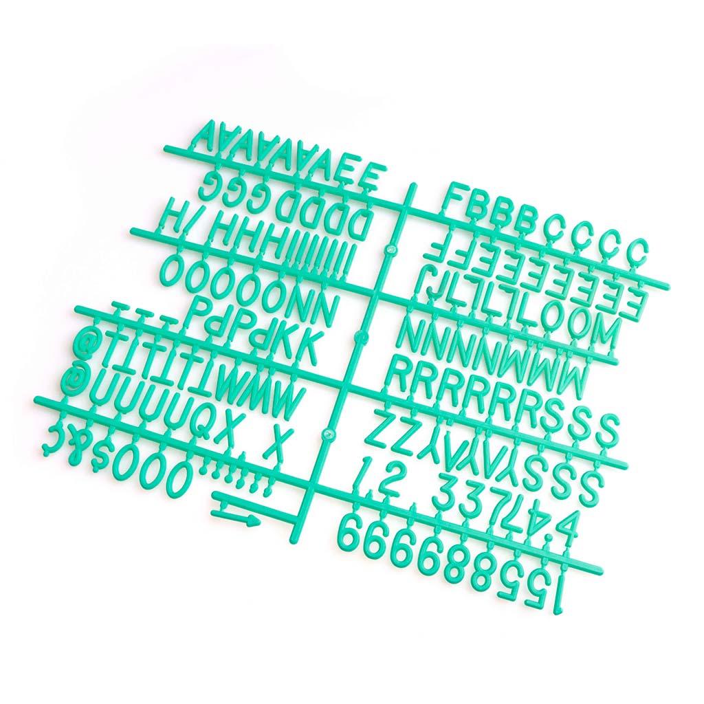 ACK Letras Tablero Fieltro Intercambiables Letters + Numeros - Alfabeto Simbolos Retro Color Turques