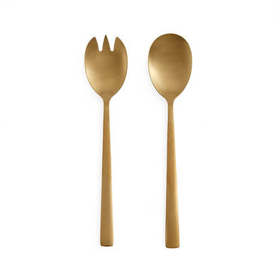 overed serving game 2 Color Gold Stainless Steel Mate - Pack Spoon Fork Cutlery Set - Style Straight