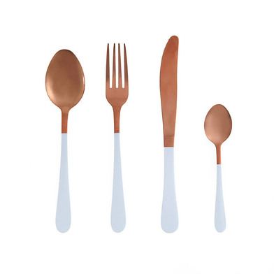 overed Game 4 Color Stainless Steel Copper and White - Pack Set Flatware Fork Knife Spoon - Style St
