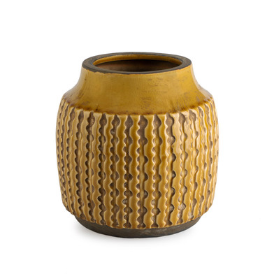 arrón Cerámica Decorativo Color Amarillo – Florero Moderno Vintage para Hogar Oficina Sala Mesa con