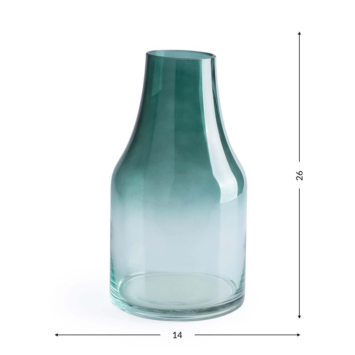 Vase Cancun, crystal, color green and clear, dégradé, vase, 26x14x14 cm