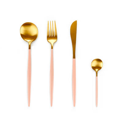 overed Game 4 Stainless Steel Gold and Pink - Pack Set Flatware Fork Knife Spoon - Style Straight Li