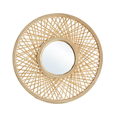 ound decorative Mirror, natural rattan,etnic design, boho chic, nordic style, beautiful and modern,