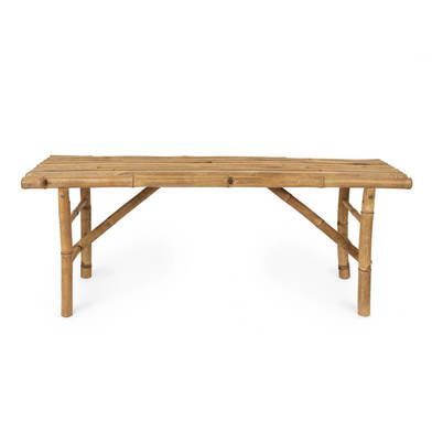 Bench I Love Bambu, for the bathroom, rustic, bamboo, natural color, 33x120x47 cm