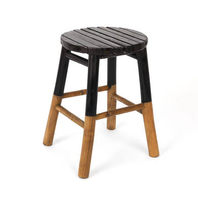 Stool I Love Bambu, for the bathroom, rustic, bamboo, natural color, 44x31x31 cm