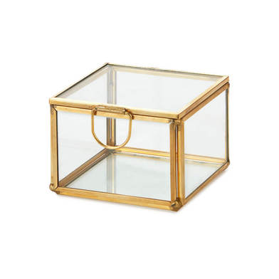 Caja deco Retro Mini, vidrio y metal, , color transparente y dorado, 7X7X5 cm