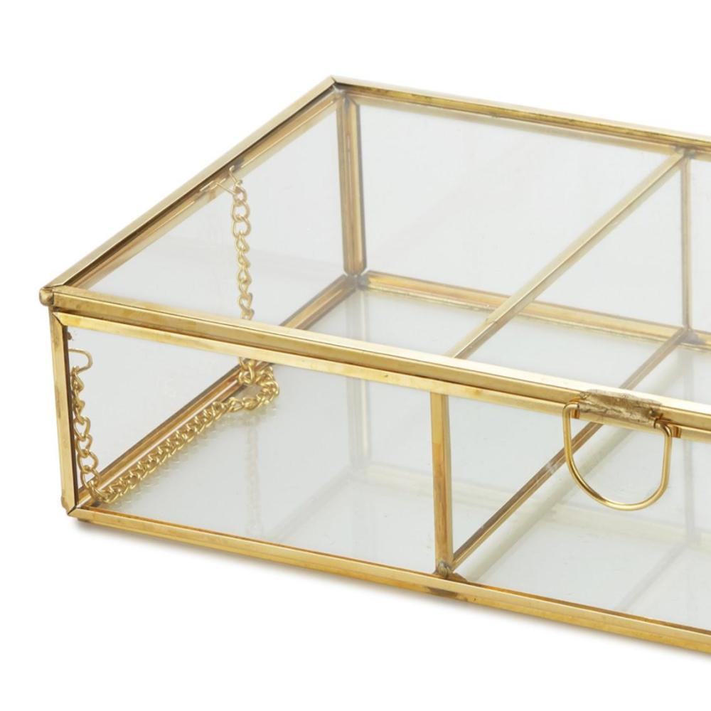 aja deco Retro 3, vidrio y metal, joyero terrario retro latón cristal 3 compartimentos almacenamient