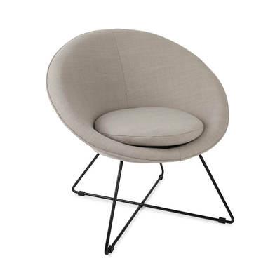 utaca de diseño pequeña para dormitorio Kane, símil lino, color gris y beige, cómoda, mini sillón, p
