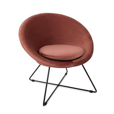 Seat Kane, velvet, rose color, comfortable, mini chair, metal leg,74x67x79 cm