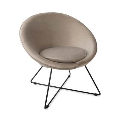 Seat Kane, velvet, taupe color, comfortable, mini chair, metal leg,74x67x79 cm