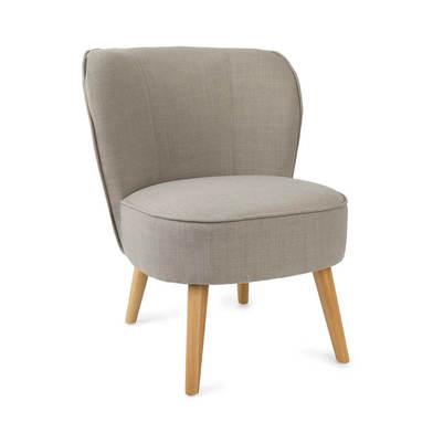 utaca de diseño pequeña para dormitorio Gatsby, símil lino, color gris y beige, cómoda, mini sillón,