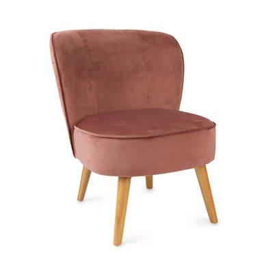 Seat Gatsby, velvet, rose color, comfortable, mini chair leg in beech,59x66x75 cm