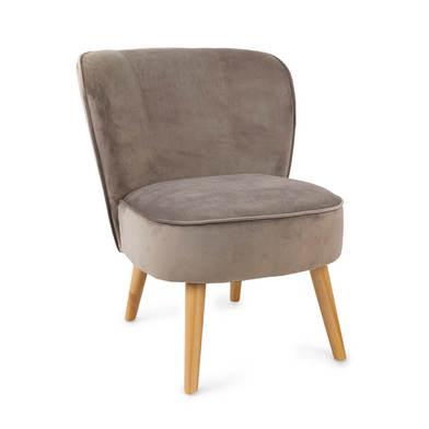 utaca de diseño pequeña para dormitorio Gatsby, terciopelo, color gris topo, cómoda, mini sillón, pa